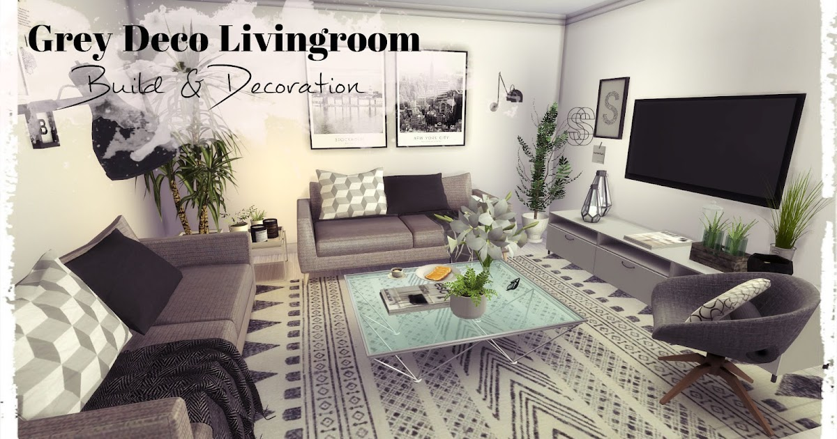 Sims 4 grey deco livingroom build decoration for for Living room west 6 brooklyn