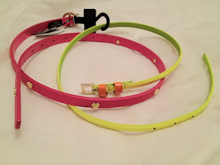 Pink and neon yellow belts