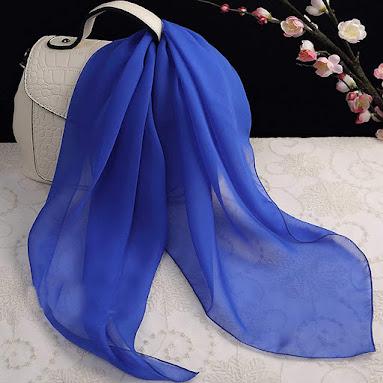 Plain Blue Chiffon Scarves