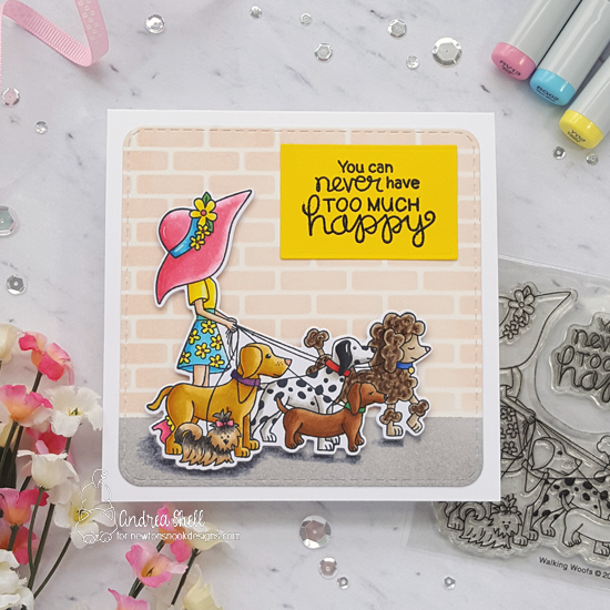 Happy Dog Walker Card by Andrea Shell | Walking Woofs Stamp Set and Frames Squared Die Set by Newton's Nook Designs #newtonsnook #handmade