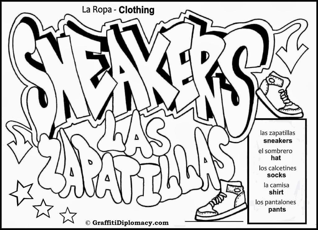 Graffiti Wall: Graffiti Words Coloring Pages