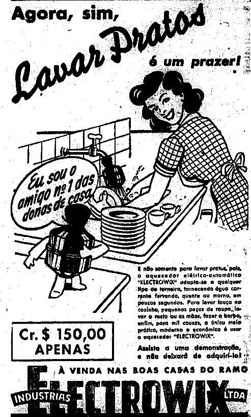 Propaganda antiga da Electrowix associando prazer ao ato de lavar pratos