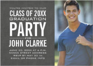 gray photo graduation invitation for him