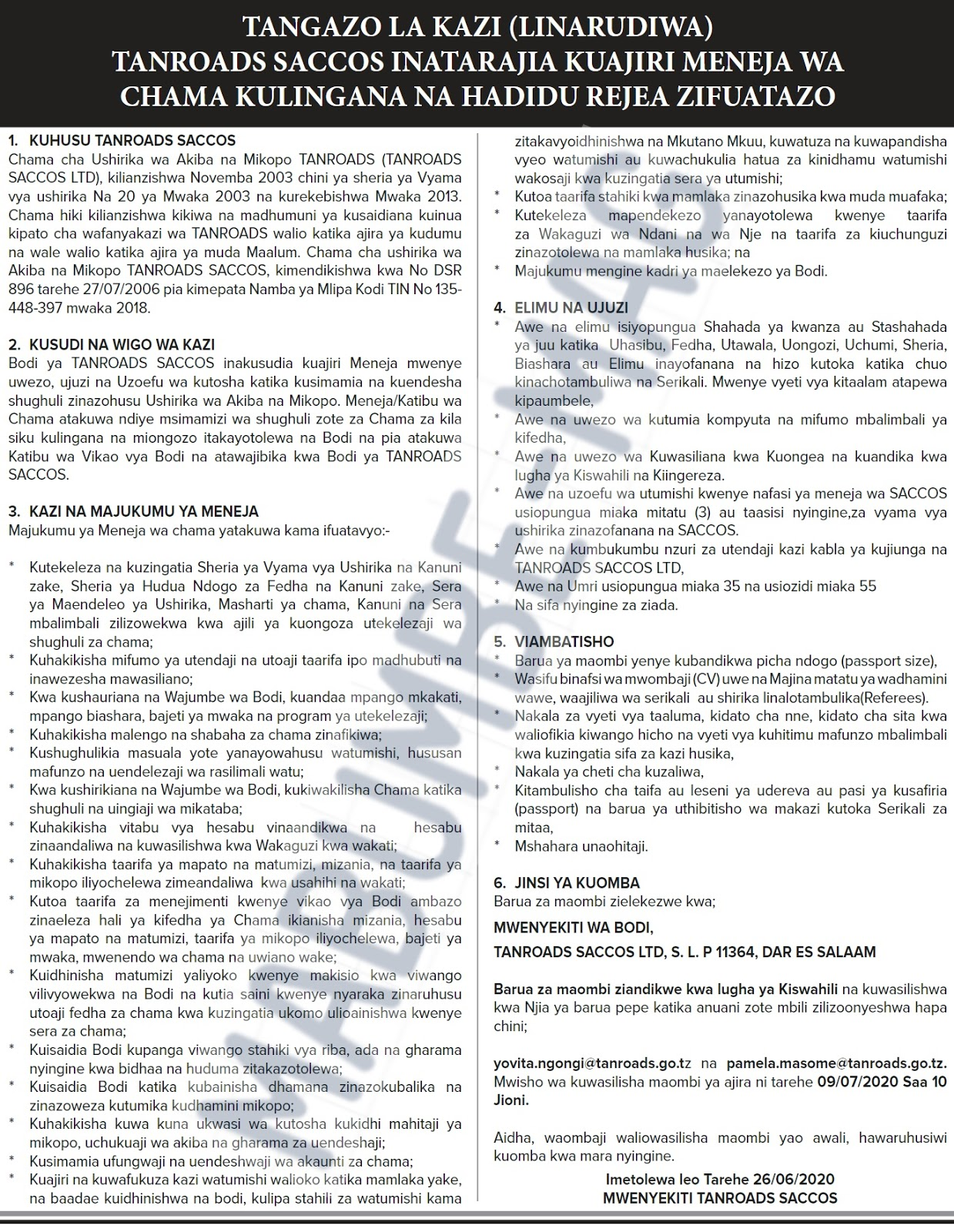 TANROADS SACCOS Jobs June 2020