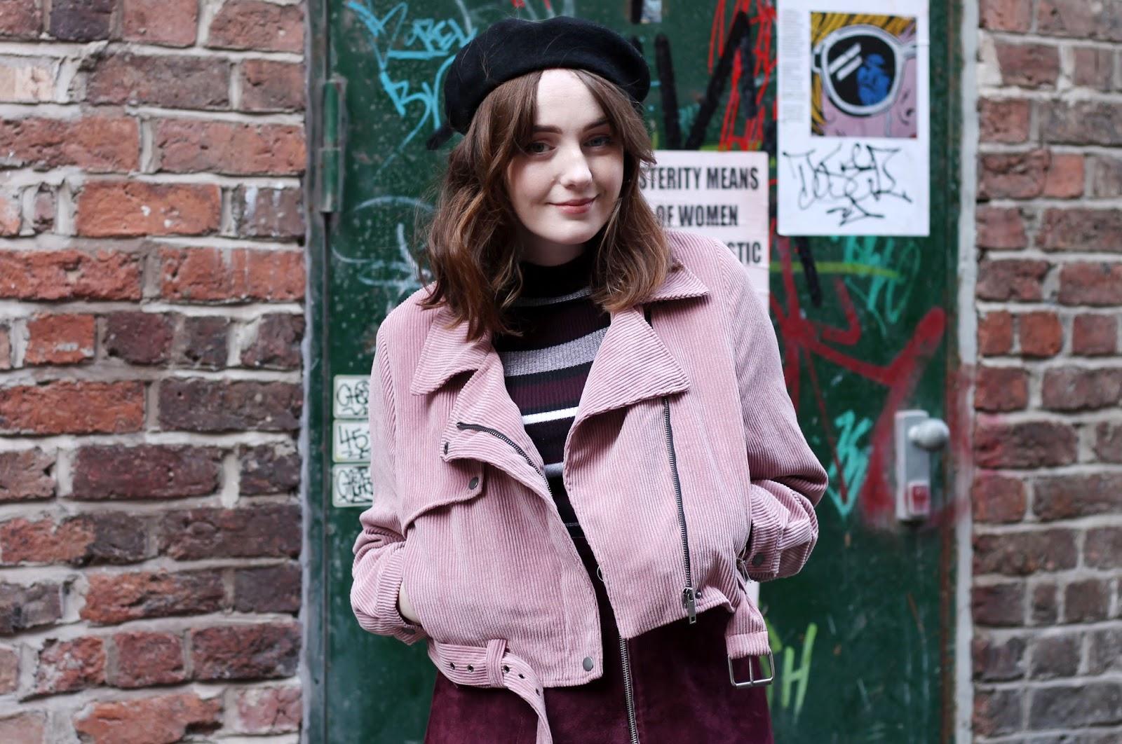Nasty Gal pastel pink cord biker jacket