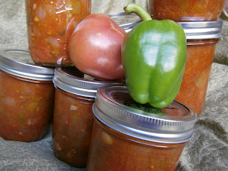 home canned salsa with tomato and pepper