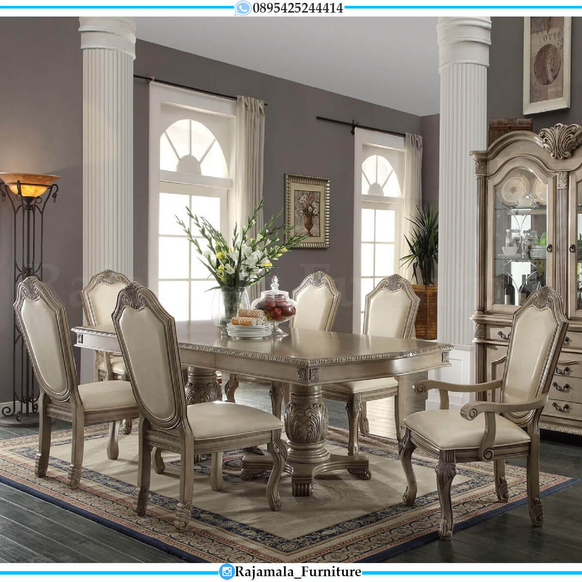 Harga Meja Makan Minimalis Klasik Ukir Jepara Simple Design Furniture Luxury RM-0591