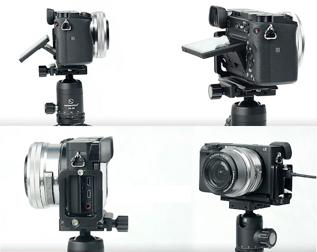 Sunwayfoto PSL-A6300 L bracket on Sony a6300 LCD and Cable