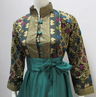 Model Baju Batik Kombinasi Polos lengan panjang