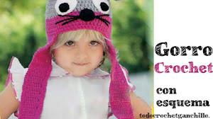 Gorro con bufanda para niños con orejas de ratón / moldes y esquemas crochet