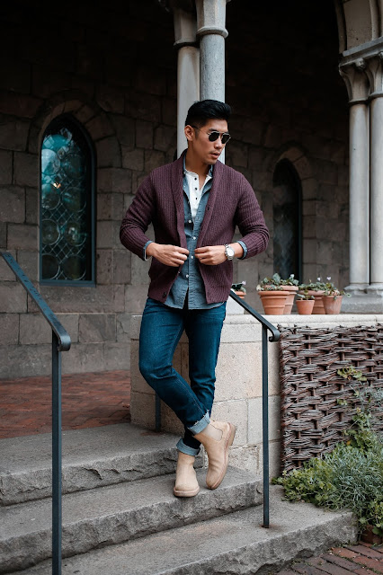 Leo Chan wearing Express Burgundy Cardigan | Asian Male Model and Blogger