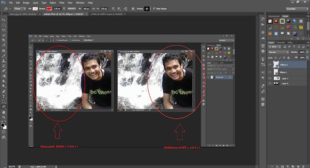 Perbedaan foto sesudah dan sebelum Shift + Ctrl + I