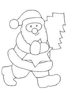 desenho de papai noel com pinheiro e estrela de natal