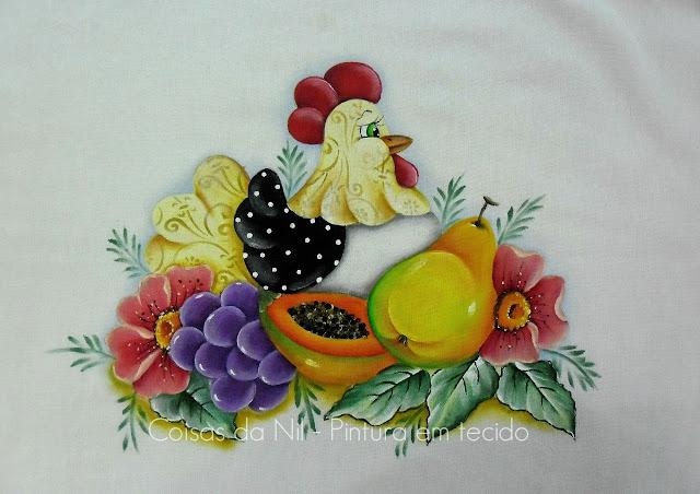 pintura em tecido pano de copa com galinha e frutas