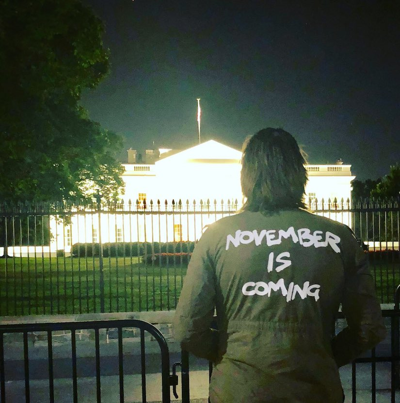 Protest outside the White House. Green Jacket November is Coming