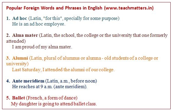 image : Popular Foreign Words And Phrases in English @ TeachMatters