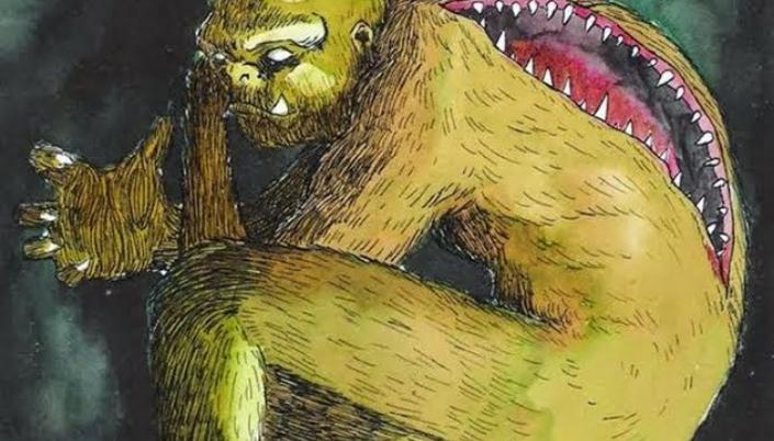 Imagem: ilustração do quibungo, um monstrengo de pelos verdes, olhos sem cor, presas aparentes na boca e em suas costas, uma segunda boca, como uma enorme fenda de dentes afiados.