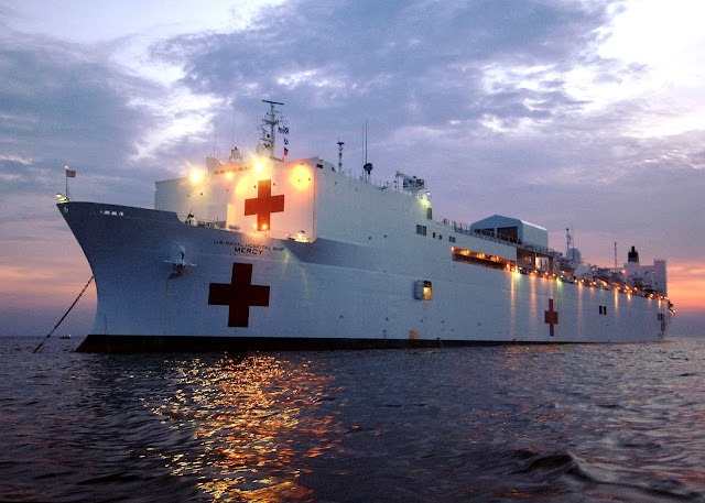 Military Sealift Command hospital ship USNS Mercy on the water.