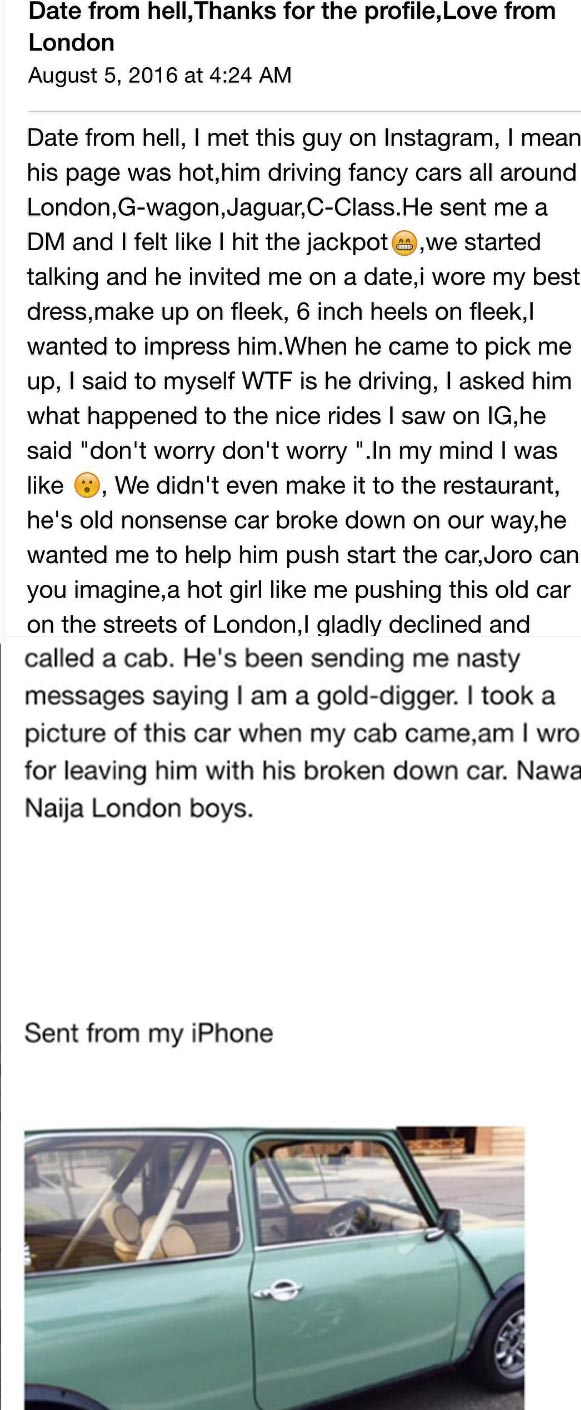"Woman exposes Naija guy in London who flaunts luxury cars on IG but drives ""kabukabu"" in real life"
