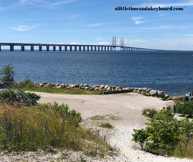 Admiring the Øresund Bridge at a viewpoint in Sweden.