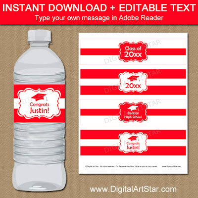 college graduation water bottle labels in red and white