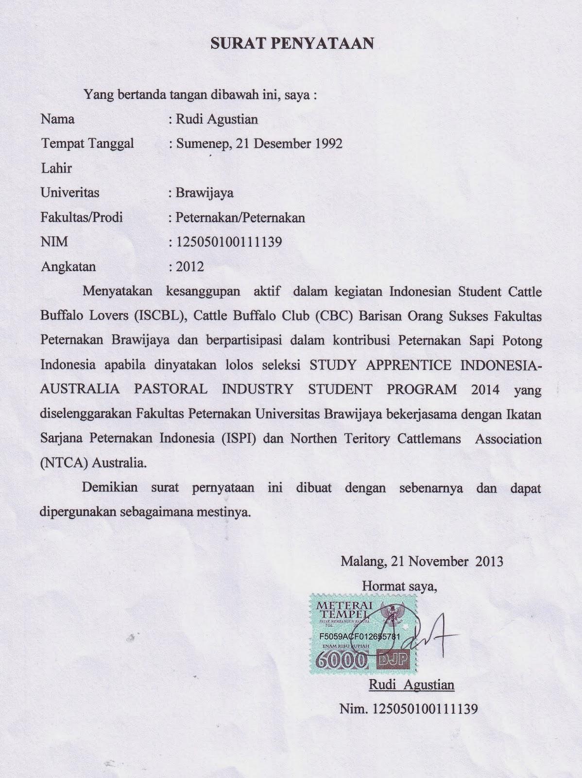 Contoh Surat Pernyataan Bergabung Dengan Organisasi Emperor Rudi