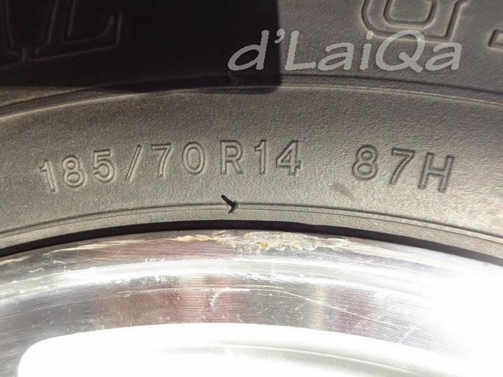 185/70 R14 87H = ukuran dimensi ban, indeks ban dan kecepatan