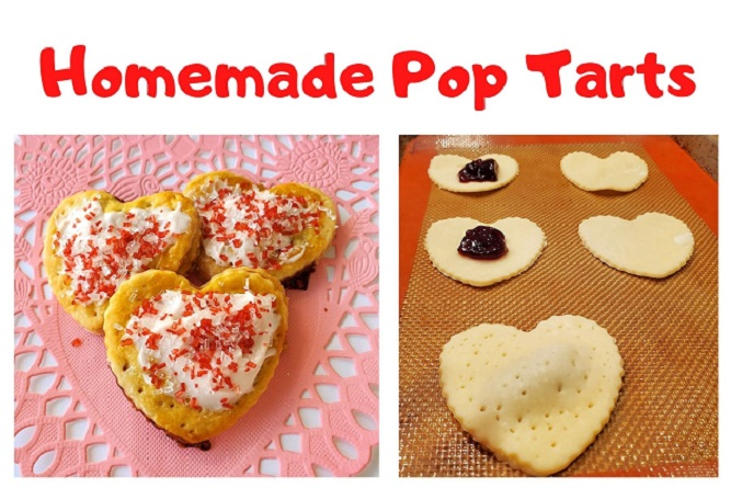 these are pop tarts filled with raspberry jam cut into heart shapes with frosting and sprinkles on top