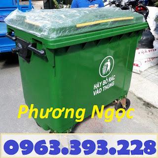 Xe gom rác nhựa 4 bánh, xe gom rác 660L, xe đẩy rác công cộng, thùng rác 4 bánh nhựa HDPE
