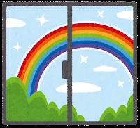 窓の外の天気のイラスト(虹)
