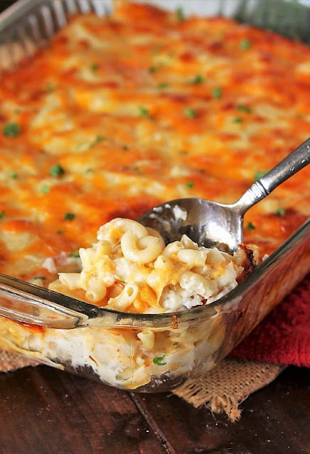 Pan of 2-Cheese Baked Macaroni and Cheese Image