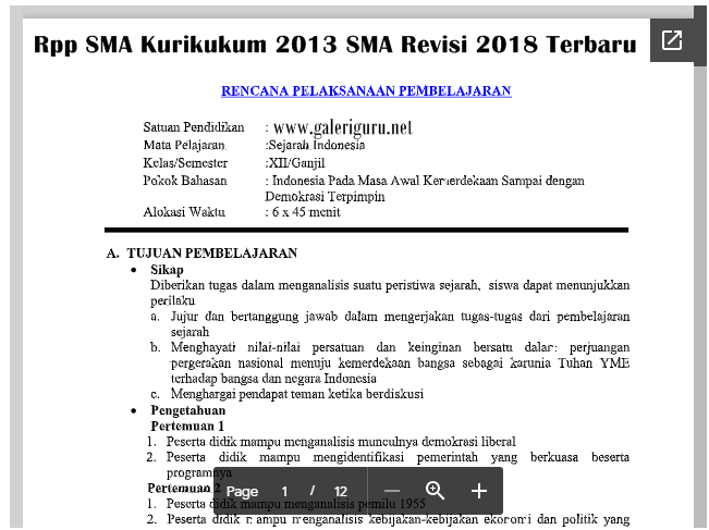 Rpp SMA Kurikukum 2013 SMA Revisi 2018 Terbaru_Galeri Guru
