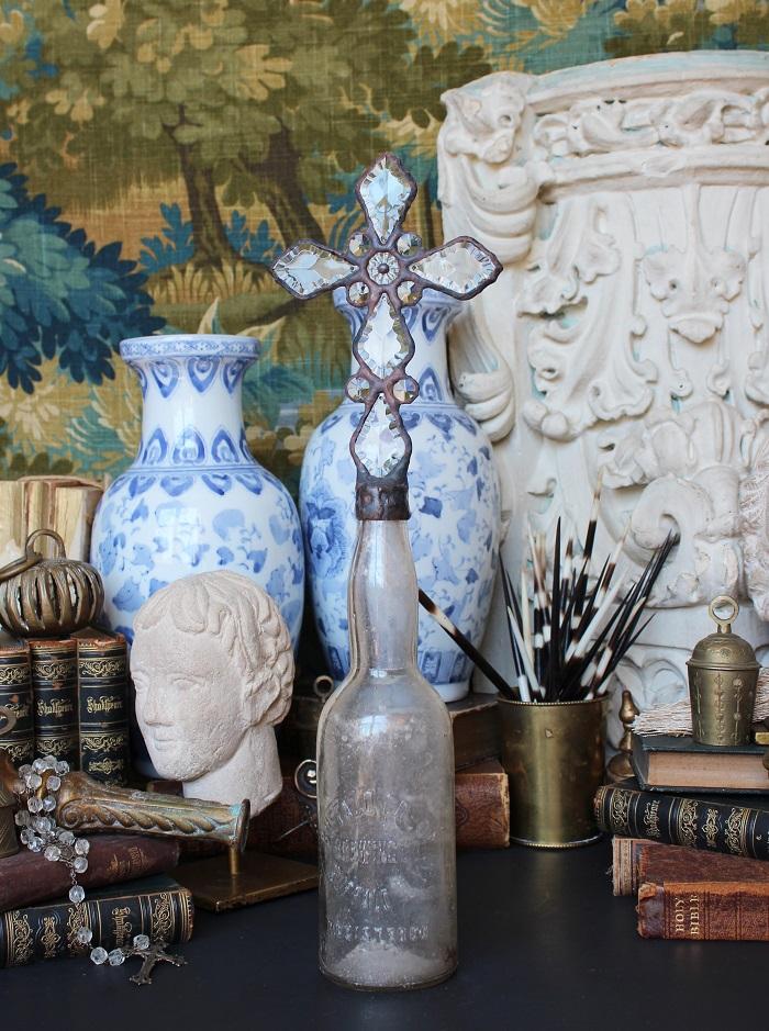 hazy, clear, bottle, cross bottles, shell topped bottle, crossbottleguy, cross bottle, luxury home decor, religious art, handmade art, crystal, antique, vintage, rosary