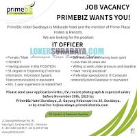 Latest Career at PrimeBiz Hotel Surabaya November 2019