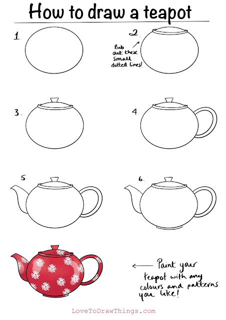 Easy teapot to draw. Easy step by step drawing tutorial
