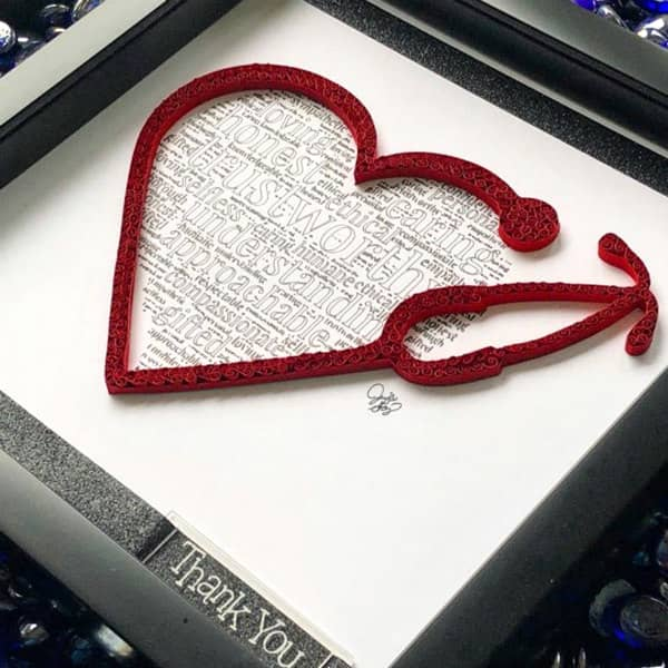 framed quilled heart