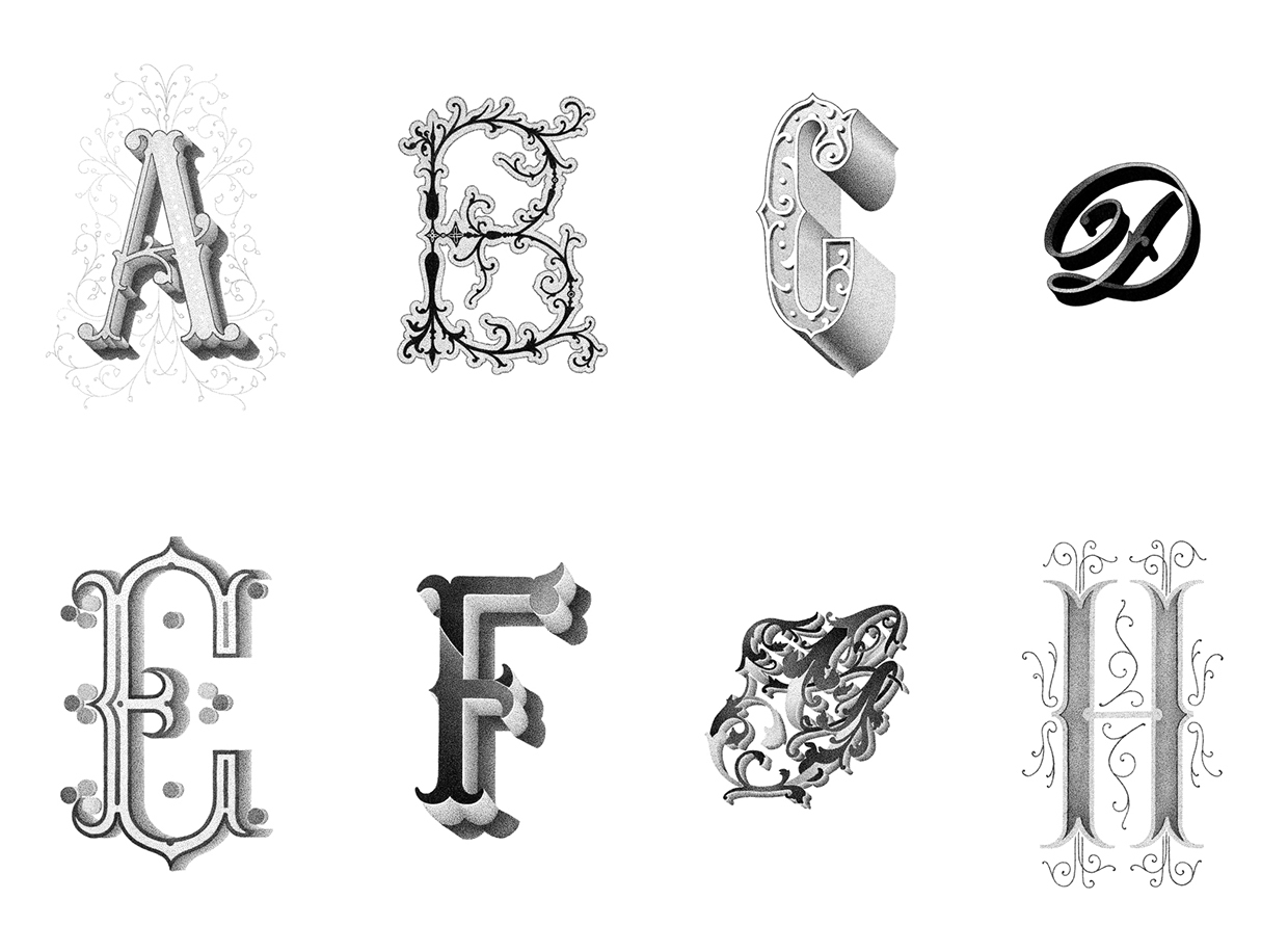 07-A-to-H-Xavier-Casalta-Typography-Illustrations-using-Stippling-www-designstack-co
