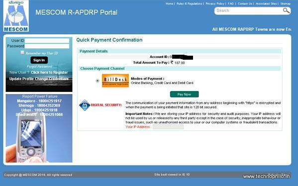 How to Pay MESCOM electricity bills online