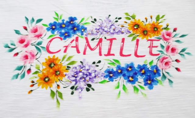 camiseta com nome pintada a mão
