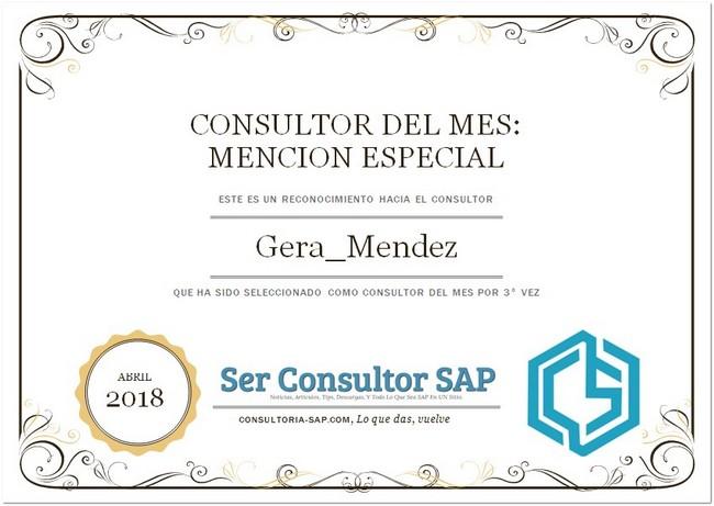 Consultor SAP de Abril: Gerardo Mendez