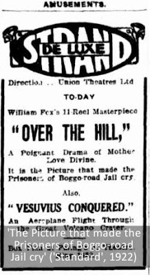 Ad for the 1921 movie 'Over the Hill', shown at Brisbane's Boggo Road