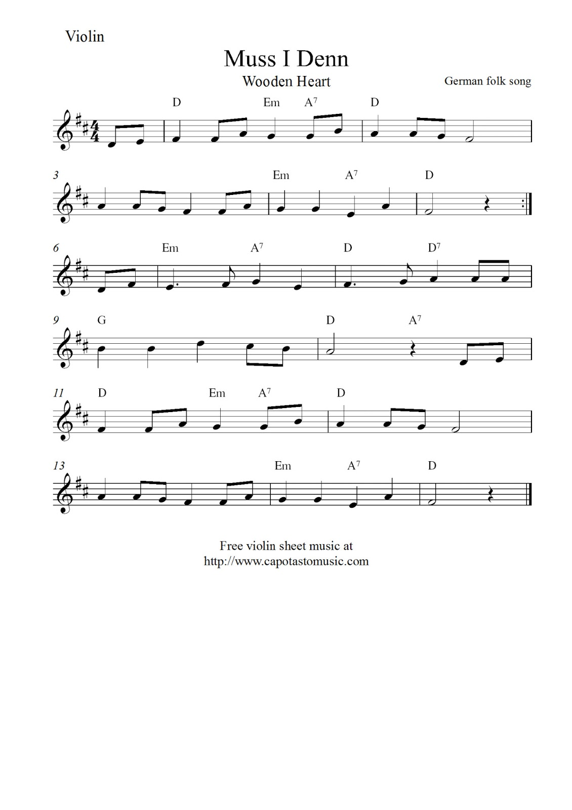 Free Printable Violin Sheet Music Muss I Denn Wooden Heart