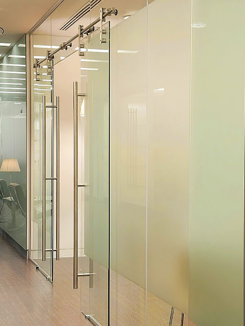 Frosted glass sliding partition
