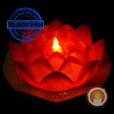 Đèn cầy hoa sen lớn điện tử tim dao động