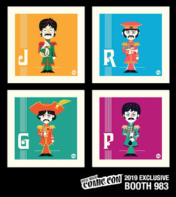 "New York Comic Con 2019 Exclusive The Beatles ""Major Mangos Melancholy Musicians"" 4""x4"" Screen Print Set by Dave Perillo"