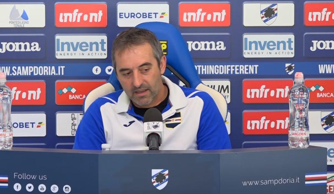 """La conferenza della vigilia di Juventus Sampdoria dalla sala stampa del """"Mugnaini"""" di Bogliasco del mister Marco Giampaolo:"""
