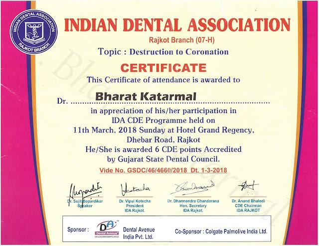 Indian Dental Association Rajkot Branch Destruction to Coronation by Dr. Sujit Bopardikar