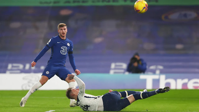 Chelsea forward Timo Werner in action in their 0-0 draw vs Tottenham