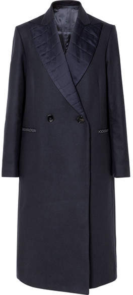 Golden Goose Deluxe Brand - Cristal Quilted Satin-trimmed Wool-blend Coat – Navy