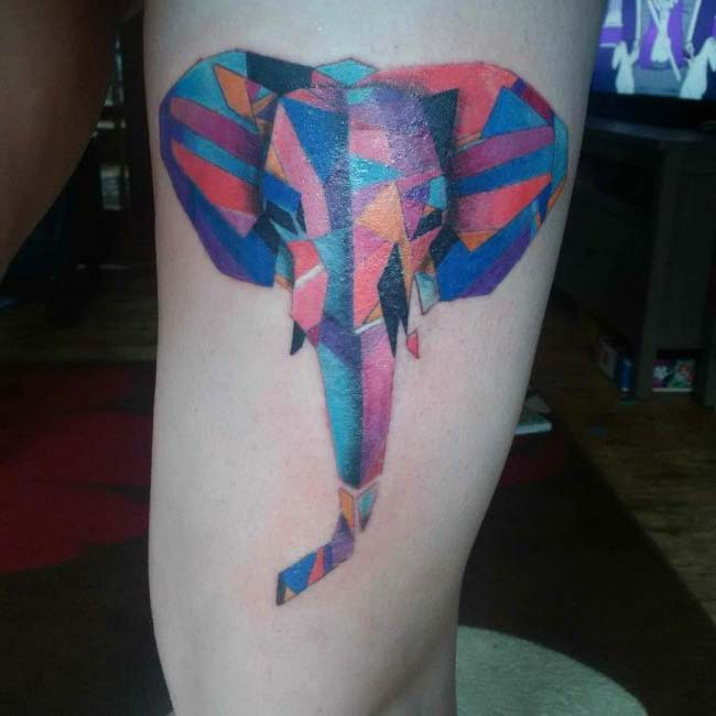 modern art elephant tattoo